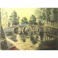 Original Unframed Vintage Chalk Amsterdam Landscape Portfolio Drawing G Holloway
