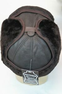6 colors 100% REAL SHEEPSKIN SHEARLING LEATHER HAT Bomber Trapper Ushanka M-3XL