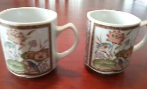 2 x Vintage Japan Mugs Octagonal Shape Gold Trim Bird & Flowers