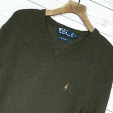 ⭐ Mens Polo Ralph Lauren 100% lambswool V neck pullover Jumper Sweater Size XL
