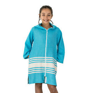 TASSOS Kids Hooded Turkish Towel Zip/Pockets   Unisex: Aqua/White