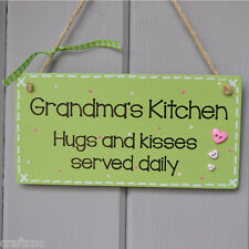 Grandma gift sign kitchen plaque, Ideal gift for Granny. Green hanging sign