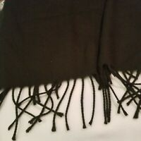 VINTAGE  FRINGED BERKSHIRE BLACK  RECTANGLE SCARF~MADE IN ITALY