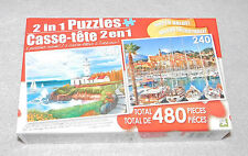 NIB 2-in-1 Jigsaw Puzzles Lighthouse Cove Menton France Italy 240 Pieces 11x9