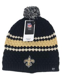 '47 Brand New Orleans Saints Team Leslie Knit Hat Black Beanie NFL Team Apparel