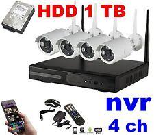 KIT VIDEOSORVEGLIANZA WIRELESS WIFI IP NVR 4 TELECAMERE LAN REMOTO + HDD 1 TB