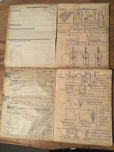 Lot 2 Cahiers Manuscrits De Chimie Complet 1928 Approx 100 Pages En Tout Curiosa