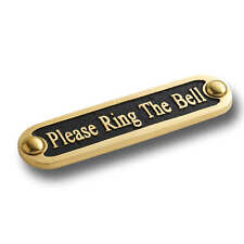 Please Ring The Bell Brass Door Sign.  Traditional Style Home Décor Wall Plaque