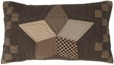 Hand Quilted King Pillow Sham Farmhouse Star Country Charcoal + Brown Patchwork