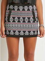 Forever 21 Patterned Mini Black Skirt Size L RRP $50