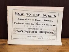Thomas Cook and Son Ireland Dublin Sight-Seeing Programme, 1910s, antique