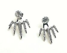 Rhodium Plated Ear Jacket Spike Double Sided Crystal Stud Earrings 30