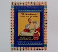 Vtg 1930's Lucky Strike Cigarettes Bridge Hands Miss America Tobacco Card #12