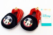 NEW DISNEY TODDLERS INFANTS MICKEY MOUSE SLIPPERS SIZE 2 RED BLACK KIDS SHOES