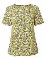 New White Stuff sz 10 - 12 Yellow Grey Floral Crochet Cactus Vintage Top Blouse
