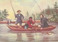 Currier Ives Vintage Art Print Happy Family Ruffed Grouse Catching Trout Fishing