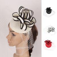 Race Wedding Veil Flower Fascinator Pillbox Hat Lady Hair Band Headband Clip