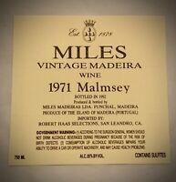 Wine Label: MILES VINTAGE MADEIRA - 1971 MALMSEY
