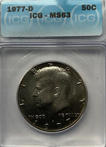 1977D Kennedy half dollar MS63 ICG