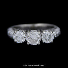 DeBeers Style Ring 3 Round Diamond Ring in Pave Set Round Diamond Mounting in WG