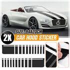 2pcs Black Auto Car Truck Hood Bonnet Stripe Sticker Decal Vinyl Racing Sport  photo