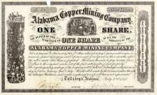 1855 Alabama Copper Mining Stock Certificate