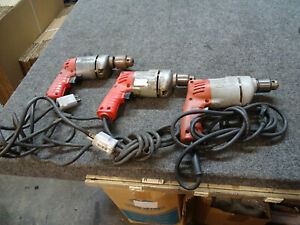"""Lot of 3 MILWAUKEE 3/8"""" Corded Drills Hole Shooter 0228-1 Reversible"""