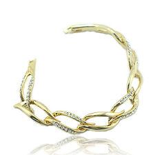 14k Gold Plated Elegant Bangle Bracelet With Swarovski Crystals