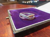 Eleganter 925 Silber Ring Überkreuz Zirkonia Modern X Form Designer Sterling