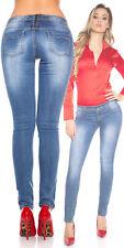 Sexy Jeans Donna Aderenti Stretch Elasticizzati Blu Scoloriti Strass Zip Dietro