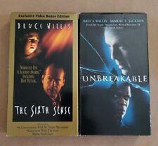 2 M. Night Shyamalan Movies on Vhs - The Sixth Sense and Unbreakable