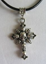 Black Leather Cord Charm / Pendant Necklace Gothic Style Skull Cross W/ 20 inch