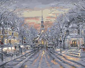 Large Paint By Numbers Kit 50*40cm 8181 Fun Art Decor Snow Street