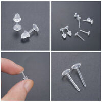 100/500X Clear Plastic Stem Rubber Anti-Allergy Ear Stud Replacement Earrings UK