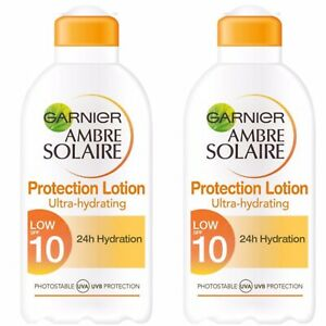 2x GARNIER Ambre Solaire Lotion 24 Hour Hydration Water Resistant SPF 10 UVA