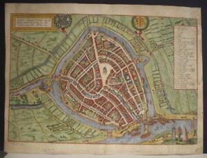GOUDA NETHERLANDS 1588 BRAUN & HOGENBERG UNUSUAL ANTIQUE ORIGINAL CITY VIEW