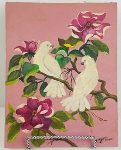 """Vintage Oil Painting by Margot Dion Birds on Branch with Flowers 7""""x9"""""""