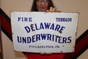 """Vintage c.1920 Delaware Fire Tornado Insurance Gas Oil 18"""" Porcelain Metal Sign"""