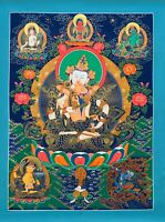 HAND-PAINTED VAJRASATTVA WITH SHAKTI TIBETAN THANGKA PAINTING 20 x 30 -INCH