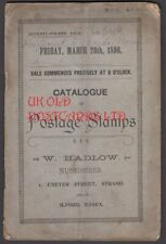W. Hadlow, Auction Catalogue of Postage Stamps, Strand, London, 1896