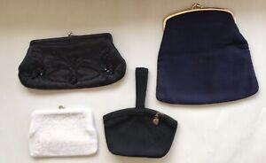 Vintage Purse Lot of 4 ,  1 White Beaded, 2 Back 1 w Beads, 1 Blue Tina Purse