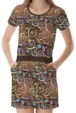 Floral Flowers Paisley Women Round Neck Splicing With Pockets Dress b7 acc02506