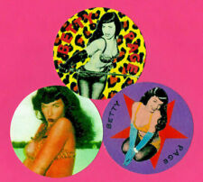 3 BETTIE PAGE STICKERS. Betty Page. Pin-up, burlesque.