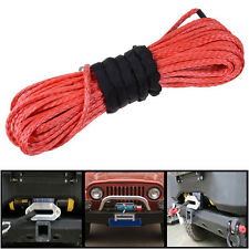 50' 6400 LBs Red Dyneema Synthetic Winch Cable Cord Rope For SUV ATV UVT Pickup