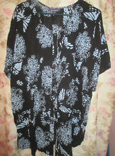 BLACK AND BLUE FLORAL BLOUSE FROM ROAMAN'S-LADIES SIZE 16W