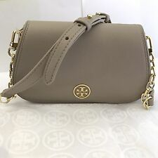 NWT TORY BURCH Landon Mini Crossbody Chain Bag in French Grey Leather Orig.$275