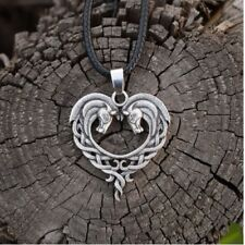 Antique Silver or Bronze Celtic Knot Horses Heart Pendant Necklace & Gift Bag