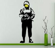 Banksy Grin Soldier Art Wall Stickers 60cm x 160cm High Quality Wall Art Decor