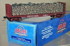 ATLAS 7284-6 O GAUGE 2 RAIL GULF MOBIL & OHIO GM&O PULPWOOD FLAT CAR WAGON qd