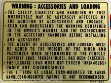 "Honda XBR500 ""avertissement: accessoires et chargement"" attention avertissement decal"